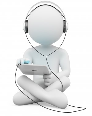 3d white person sitting cross-legged with a tablet and headphones.