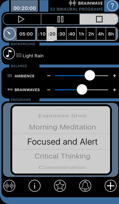 Screenshot fra Brainwave app - Focused and Alert